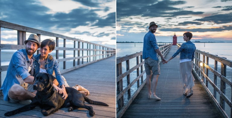 fotografo di matrimonio a Lignano Sabbiadoro sessione fidanzati prematrimonio prematrimoniale engagement a Lignano Sabbiadoro, faro rosso, spiaggia
